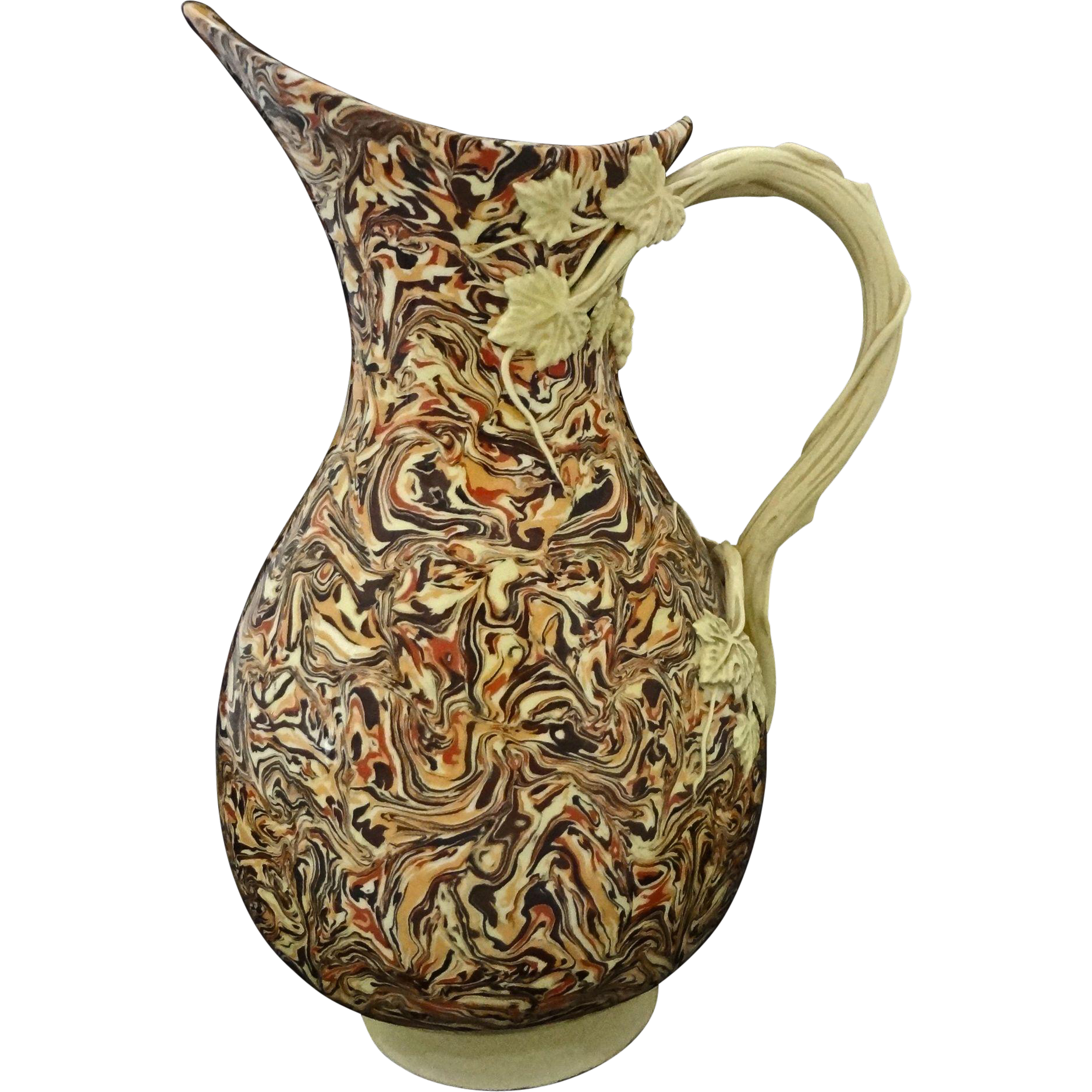 French Faience Marbleized Pitcher Provence Jean Faucon Apt - 20th Century, France