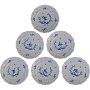 Set 6 French Country Provence Faience Moustiers Dinner / Wall Plates Birds - 20th Century, France