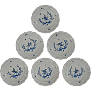 Set 6 French Country Provence Faience Moustiers Salad / Wall Plates Birds - 20th Century, France