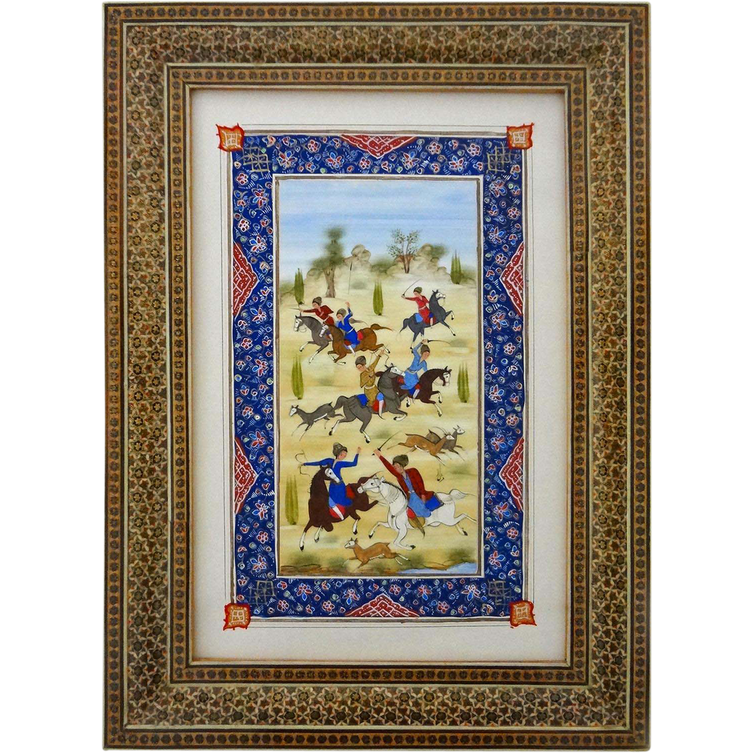 Traditional Persian Style Painting Hunters Horses Deer in Decorative Frame - 20th Century