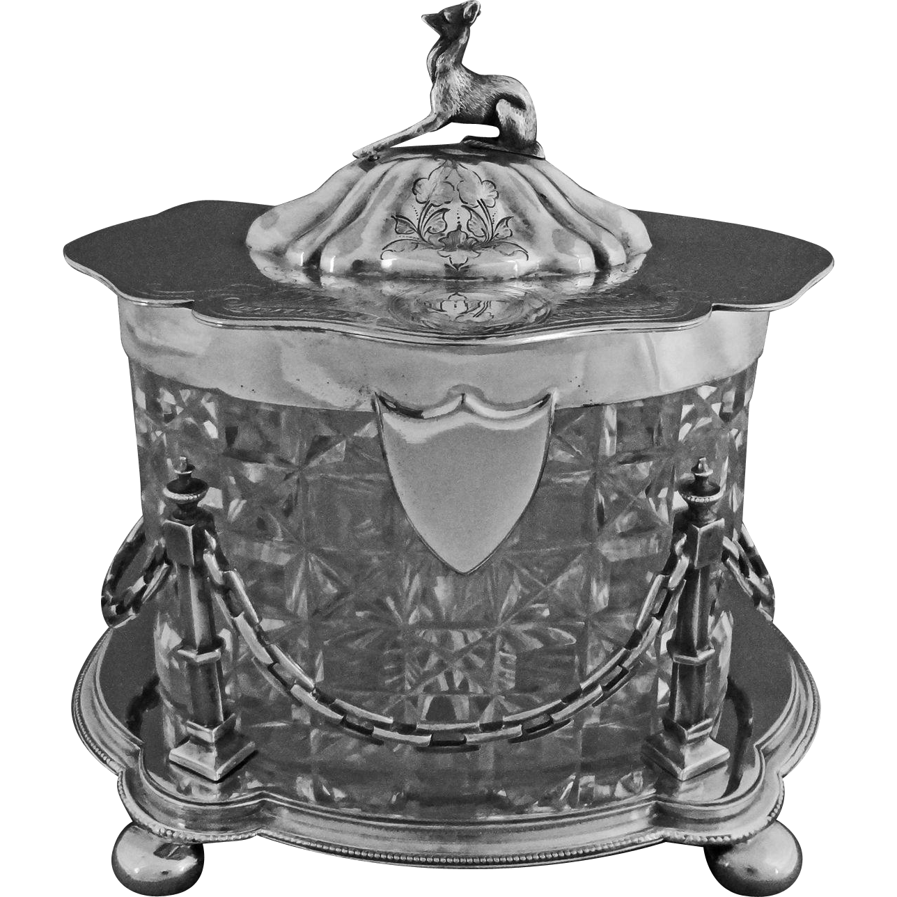 Antique English Lidded Biscuit Box Whippet Dog Finial Crystal and Silver Plate - 19th Century, England