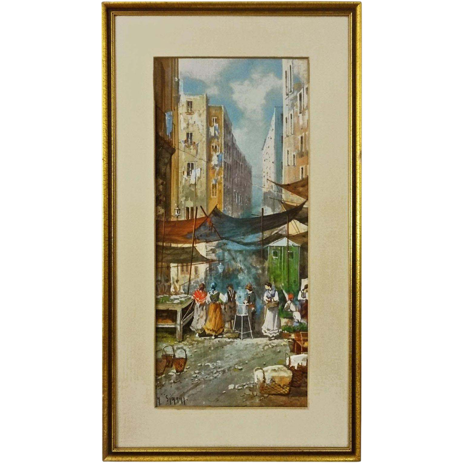 Neapolitan Market Street Scene Gouache Watercolor Painting Signed Y. Gianni - early 20th Century, Italy