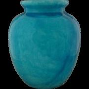 Large Monochrome Glazed Turquoise Ceramic Jar / Vase Awaji Style