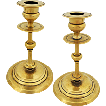 Pair Antique Classic Polish Brass Candlesticks Norblin & Co. - c.1860 - c.1870, Warsaw, Poland