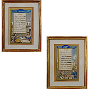 Pair Medieval Style Illuminated Manuscript Calendar Months Hand Colored Lithographs