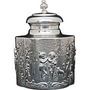 Repousse Tea Caddy Rococo Style Children in Garden Decor Silver Plate Signed