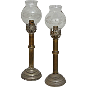 Pair Antique Spring Loaded Sconces / Candlesticks - circa 1900's, USA