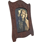 Aesthetic Style Carved Walnut Easel Back Picture / Photo Frame - c. end 19th/early 20th Century, USA