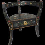 Norwegian Folk Painted Wood Corner Chair Rosemaling Decor on Black - circa 19th Century, Norway