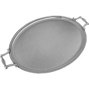 "Christofle Large 22"" Oval Handled Tray Colbert Pattern - 20th Century, France"