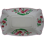 French Faience Rooster Platter Pink Green on White Ground K et G Luneville  - 20th Century, France