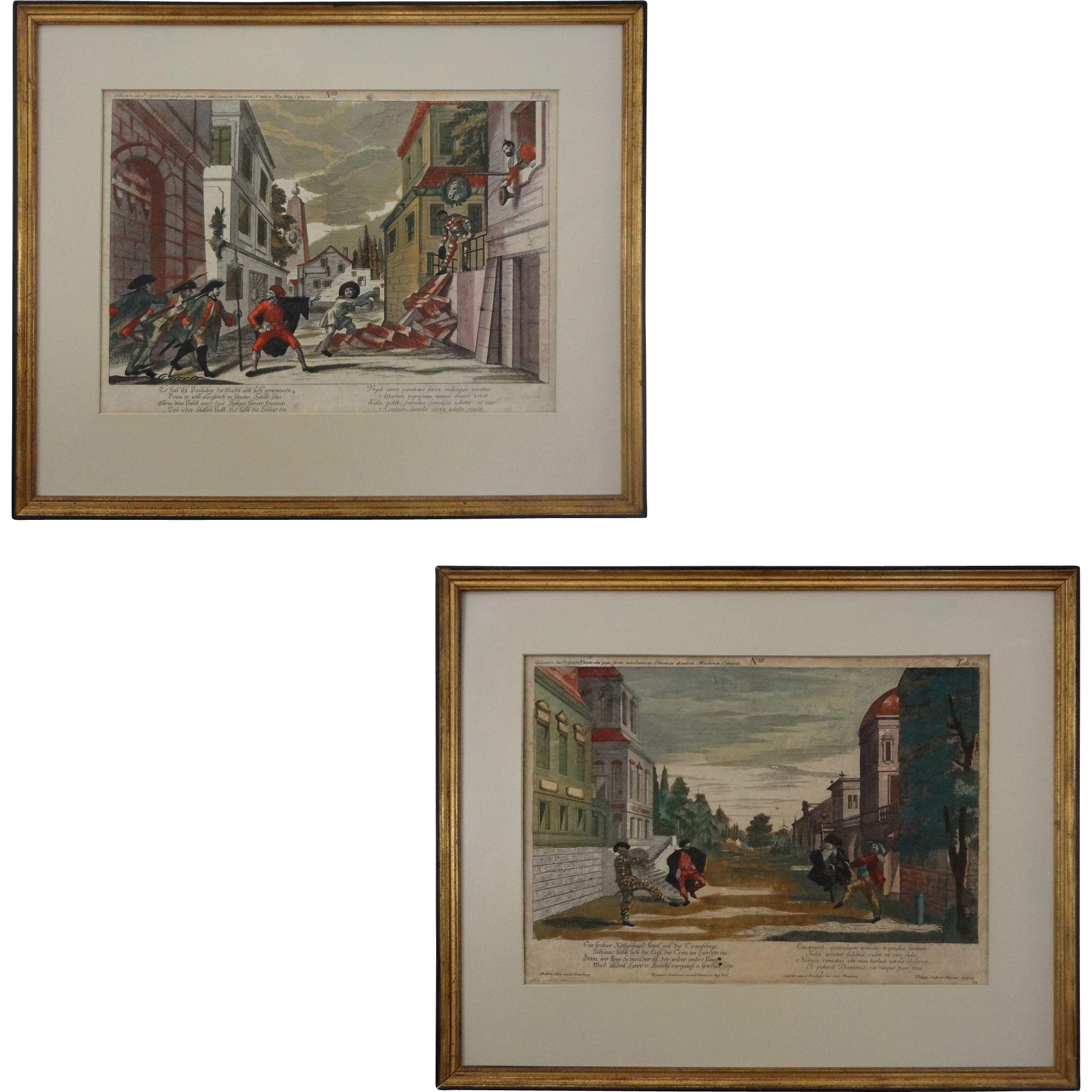 Pair 18th Century Engravings Hand-Colored Philip Andreas Degmair after Matthias Siller Tab. 5 & 12 - Vienna, 1764