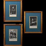 Set 3 Antique Engravings Americana Portraits Franklin, Barry, Wayne - 19th Century, USA