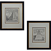 Pair Roman Pyramid Engravings Caio Cestio Framed Ancient Monument