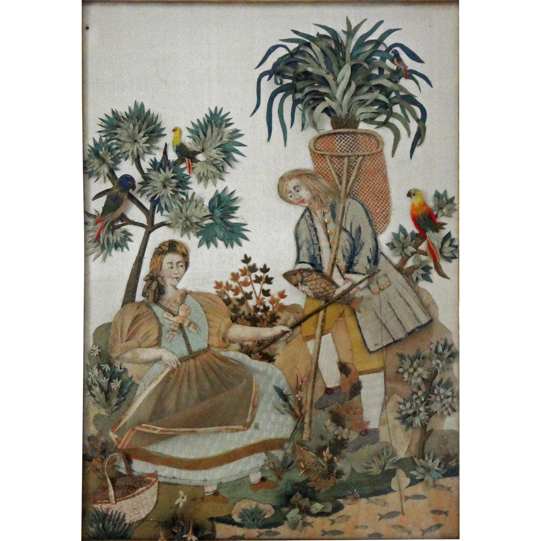 Antique Cut Fabric On Silk Collage Picture In Gilt Shadow