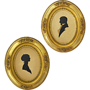 Pair Silhouettes Antique Gilt Wood Oval Frames Young Lady and Gentleman - Red Tag Sale Item
