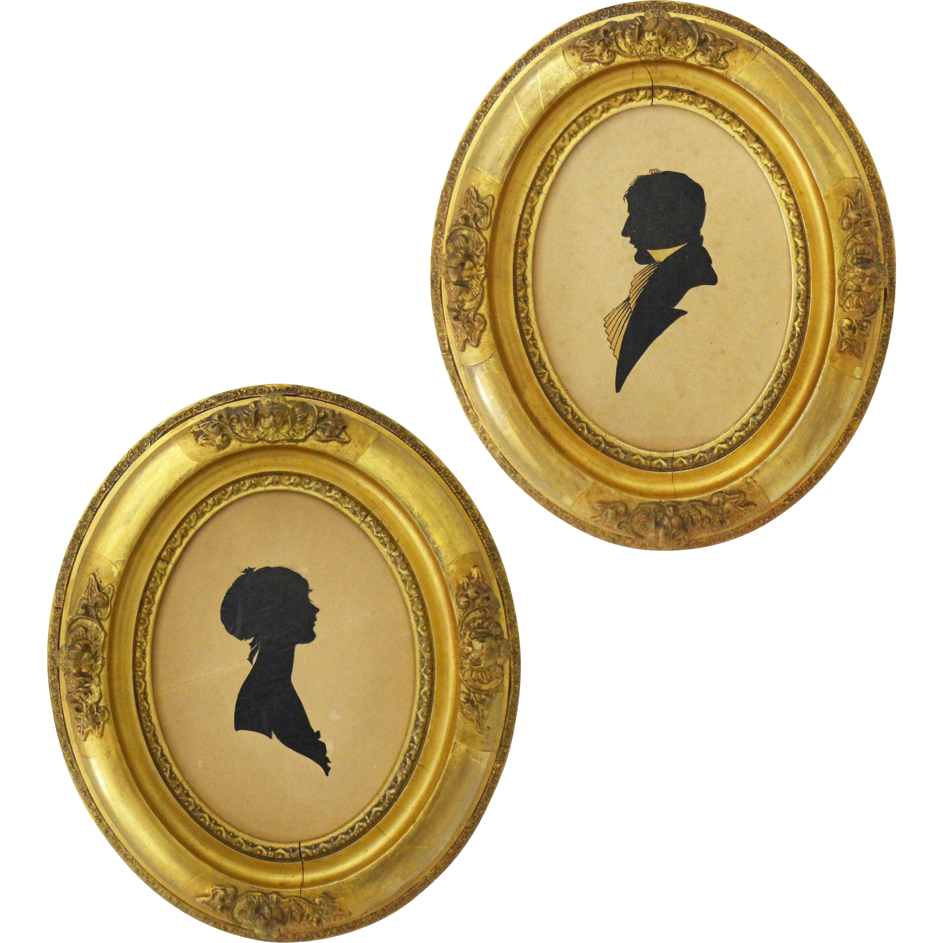 Pair Silhouettes Antique Gilt Wood Oval Frames Young Lady and Gentleman