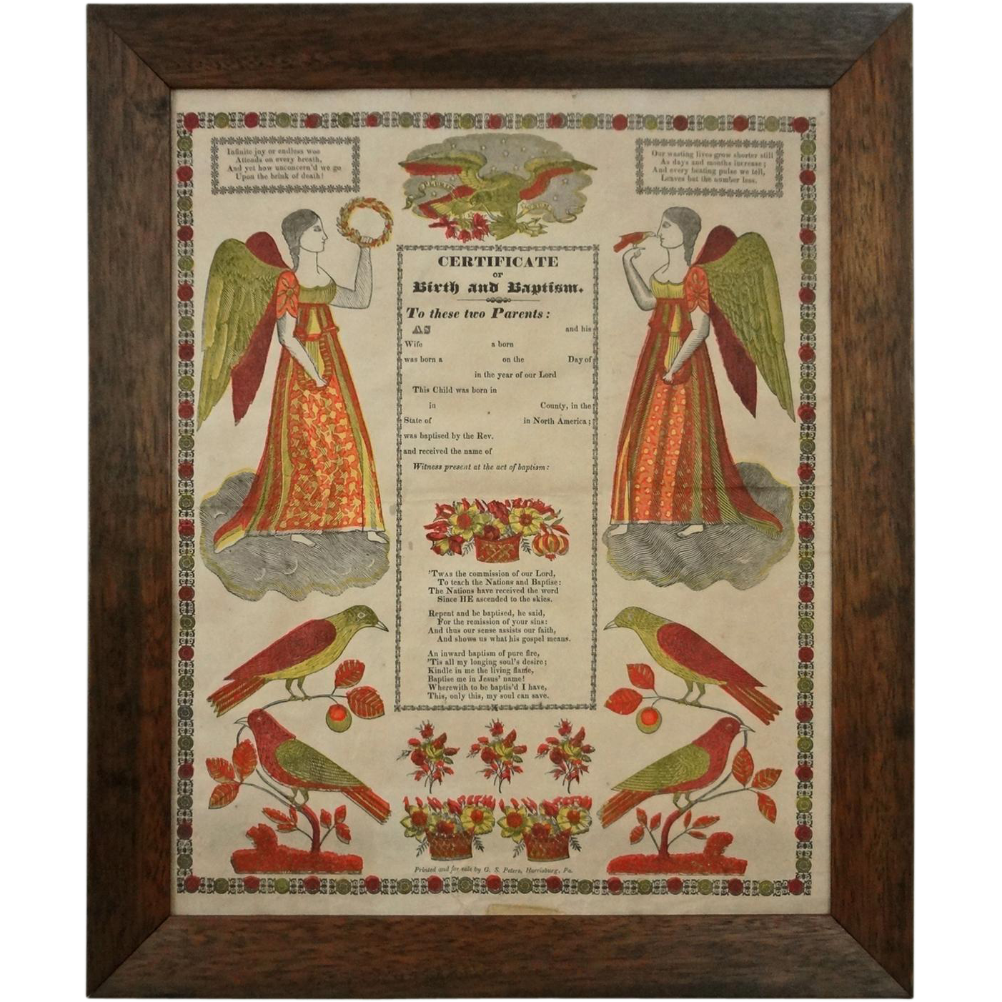 Early Framed German Folk Art Broadside Fraktur Certificate Of Birth From Aa On Ruby Lane