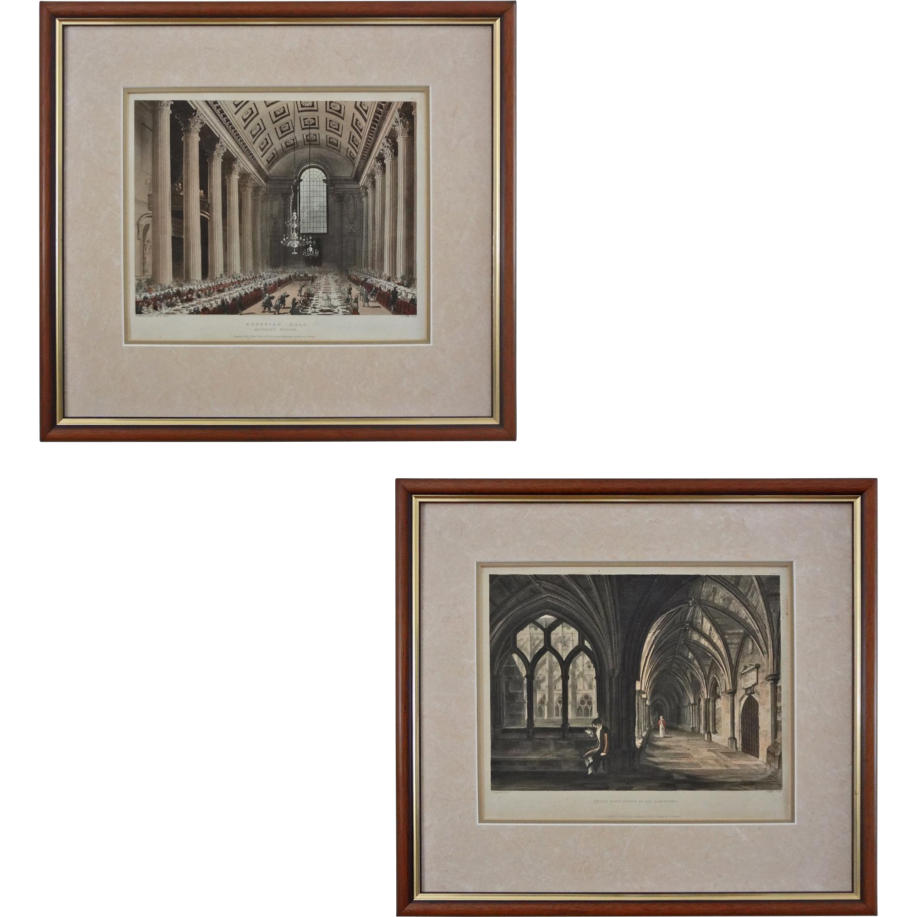Pair Antique Aquatint / Etchings London Architecture Egyptian Hall and Cloisters - early 19th Century, England