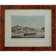 Lithograph Commodore Perry Expedition to Japan, View of Uraga, Yedo Bay - 19th Century, USA