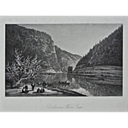Delaware Water Gap Steel Engraving Americana Framed Pennsylvania - 19th Century, USA