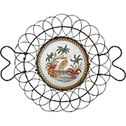 Lustre Aesthetic Style Crane Bird in Marshlands Dutch Faience Bowl in Wire Ware Basket - circa. 1900, France