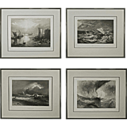 Set 4 Turner Maritime Nautical Engravings - c. 19th Century, England