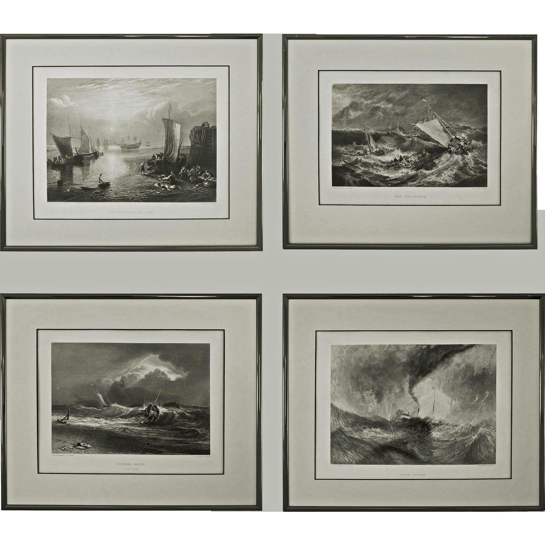 Set 4 Turner Maritime Nautical Engravings - c. 19th Century, England