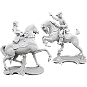 Pair Nymphenburg Equestrian Horse Rider Figurines 531 and 362 - 1910-1975, Germany