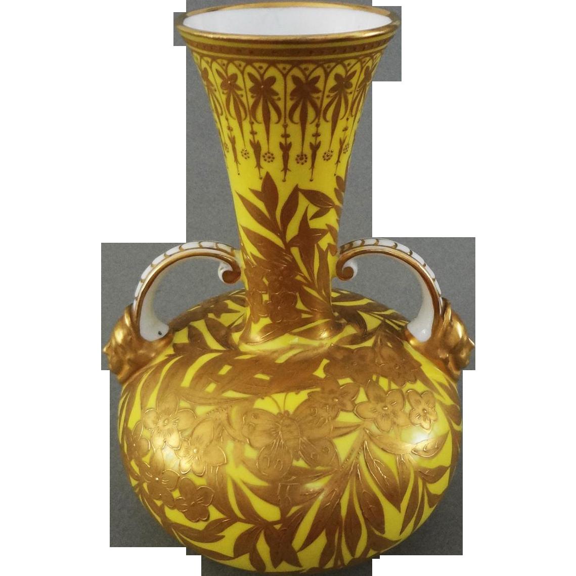 Royal crown derby large yellow raised gilt handled vase urn royal crown derby large yellow raised gilt handled vase urn amulet art and antiques ruby lane reviewsmspy