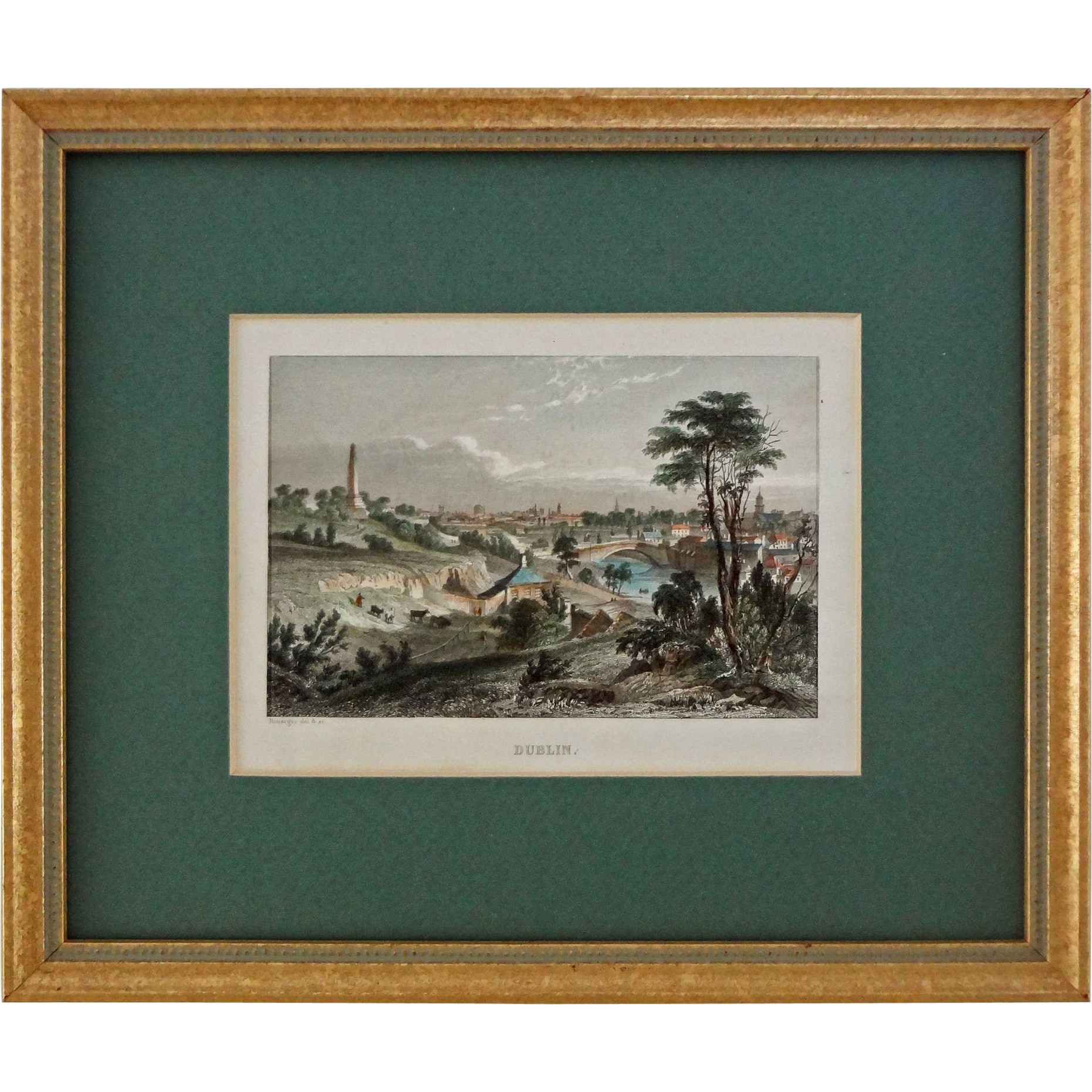 Dublin Antique Color Steel Engraving by Rouargue after Petrie - 19th Century, England