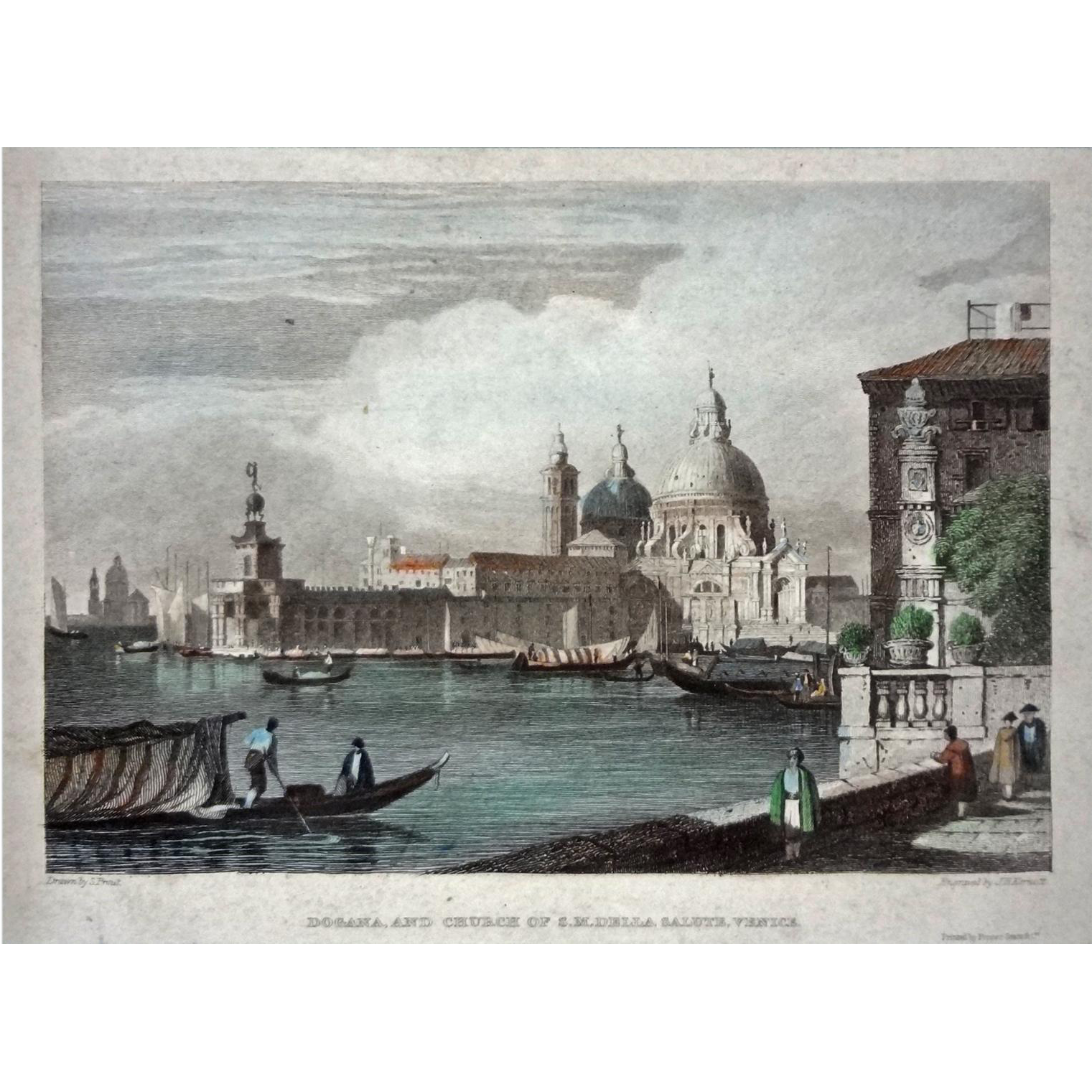 Antique Venice Engraving Dogana, and Church of Santa Maria Della Salute by J. H. Kernott after S. Prout - 19th Century, England