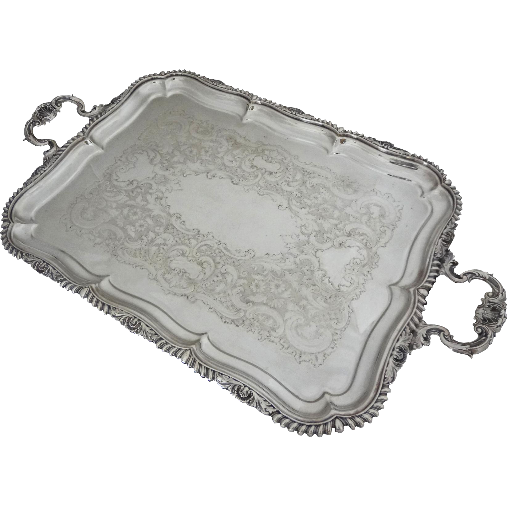 "Excellent Gorham 22"" Handled Tray Silver Plate - 20th Century, USA"