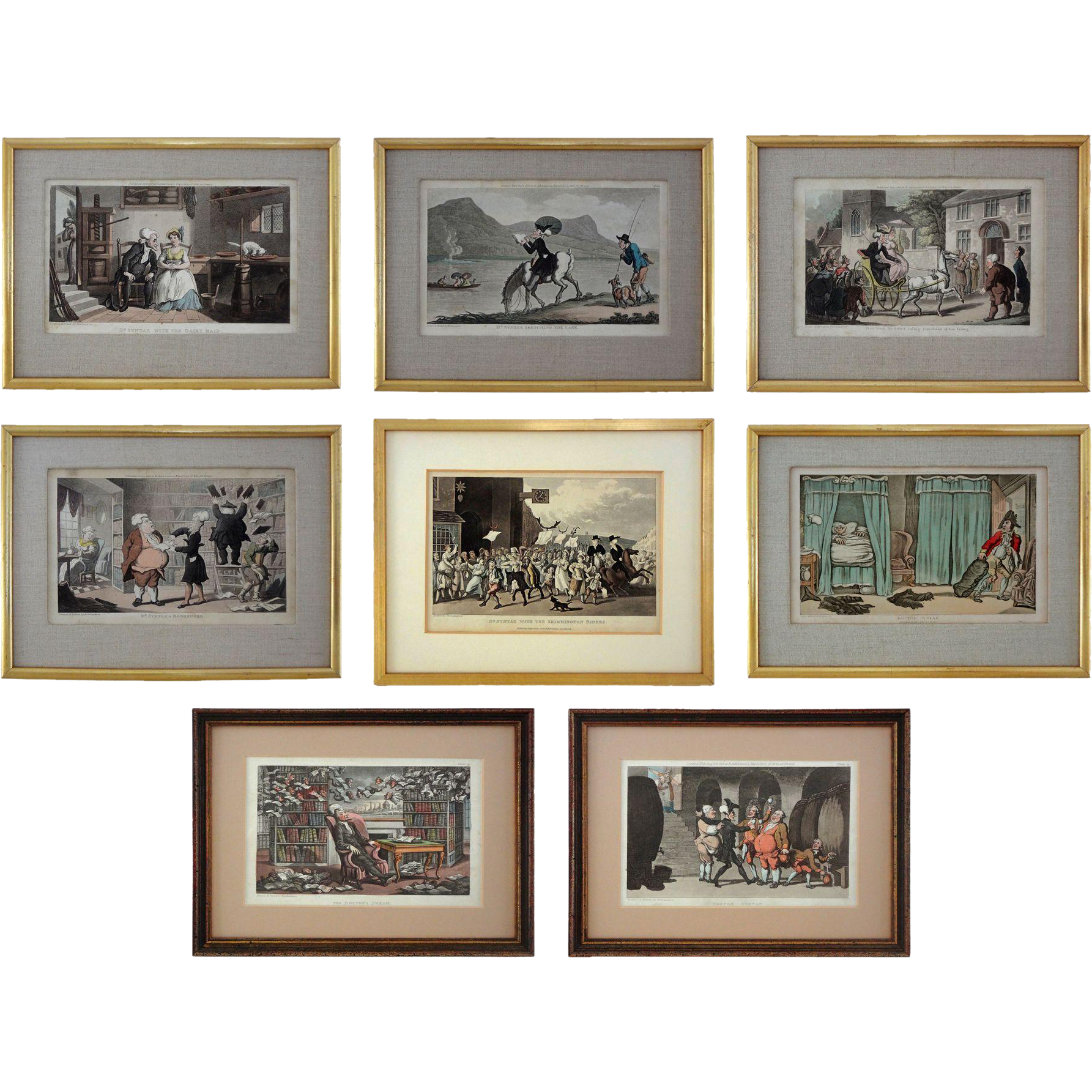 Set 8 Early English Lithographs Rowlandson Dr. Syntax Caricatures - c. 1820, England