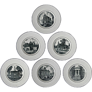 Set 6 Delaware Tercentenary Celebration Plates Spode Mansard - registered 1932, England