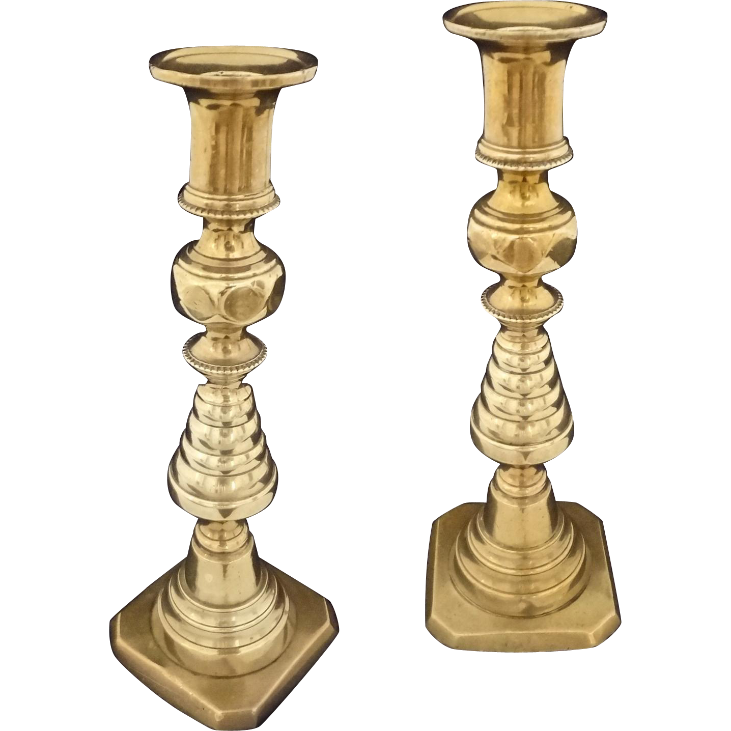 Pair Antique Bronze Beehive Push Up Candlesticks - 19th Century, England