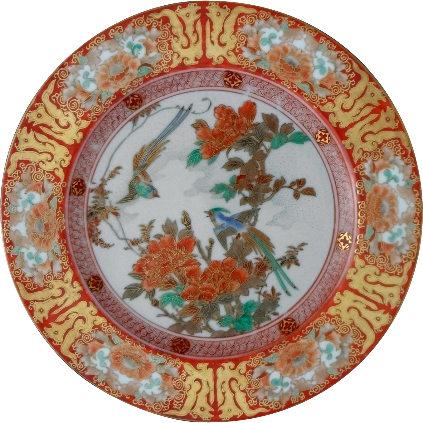 Japanese Meiji Kutani Birds Flowers Iron Red and Gilt Hand Painted Porcelain Plate / Dish - Meiji Period, Japan