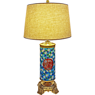 Longwy Japonism / Orientalist Table Lamp Bronze Mount - c. 19th Century, France