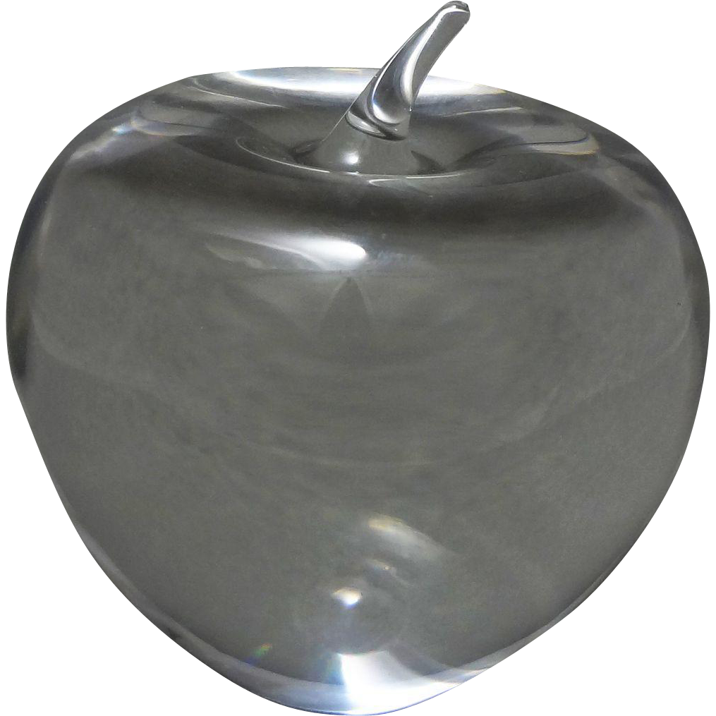 Tiffany & Co. Apple Shaped Crystal Paperweight Signed - 20th Century, USA