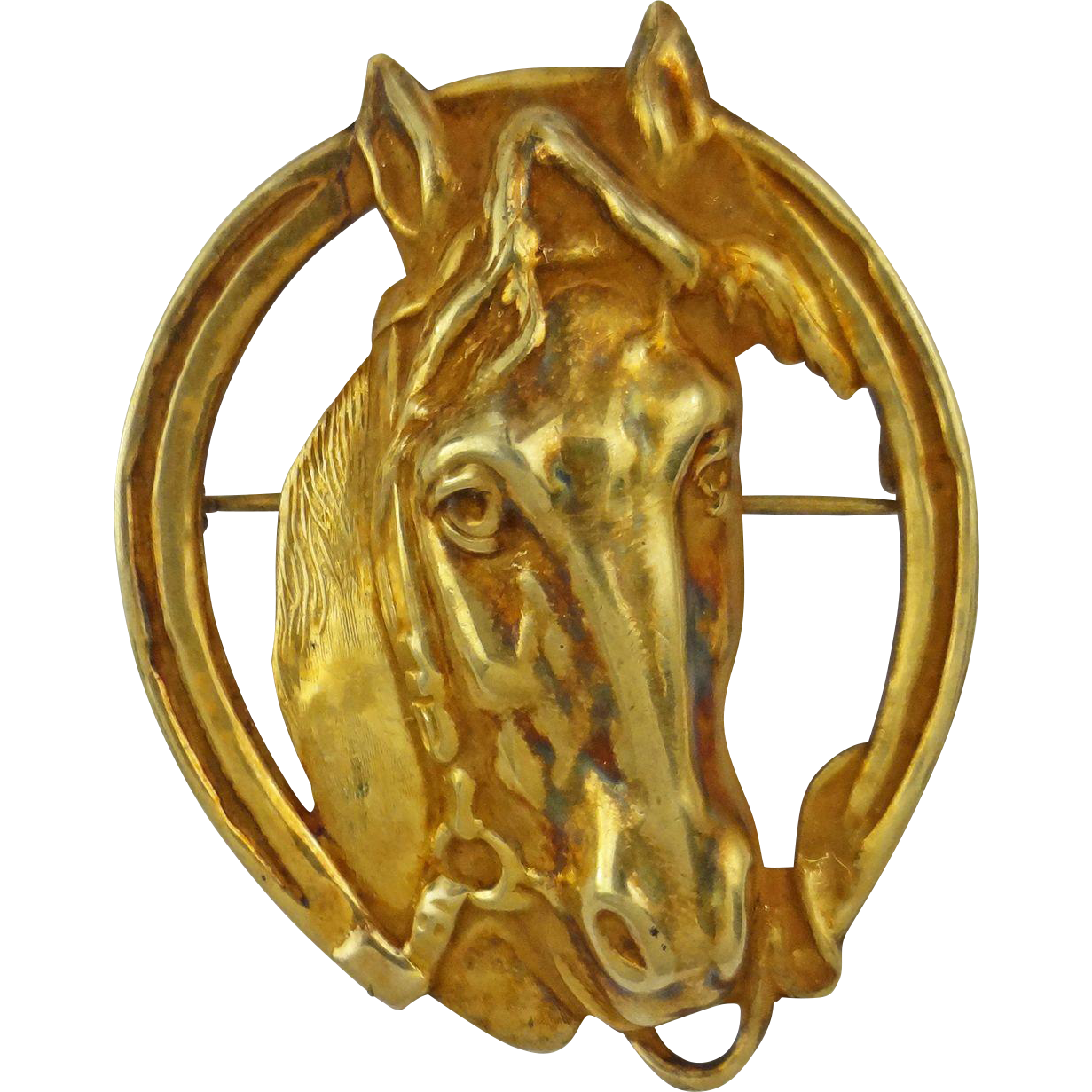 Gilt Sterling Horse / Equestrian Brooch Marked STERLING