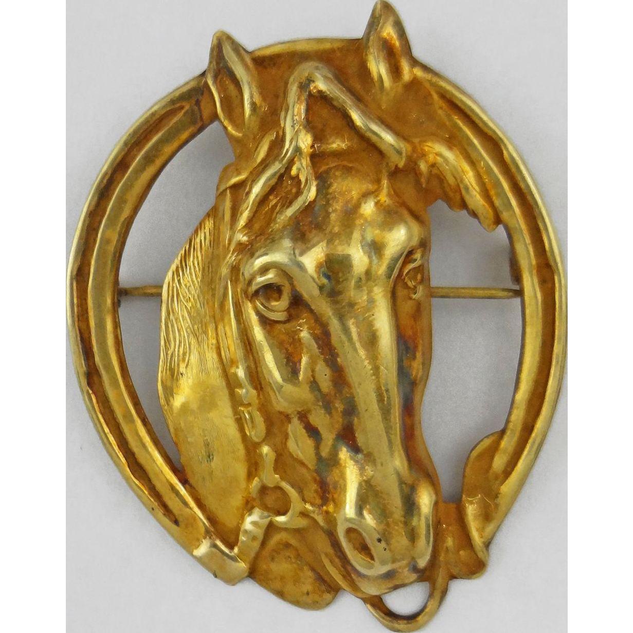 Gilt Sterling Horse / Equestrian Brooch Marked STERLING
