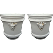 Pair Antique Old Paris Porcelain All White Chinoiserie Mask Planters - 19th Century, France