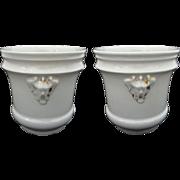 Pair Antique Old Paris Porcelain All White Chinoiserie Mask Planters - 19th Century, France
