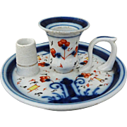 Antique Early Gaudy Welsh Style Porcelain Flow Blue Chamberstick Candle Holder with Match Holder / Striker - 19th Century, Great Britain