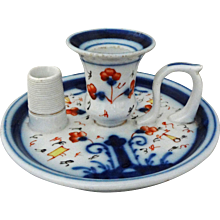 Antique Early Gaudy Welsh Style Porcelain Flow Blue Chamberstick Candle Holder with Match Holder / Striker - 19th Century, Great Britain - Red Tag Sale Item