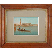 Venice St. Marks Bell Tower and Ducal Palace View Hand Colored Lithograph - c. 19th Century, Italy
