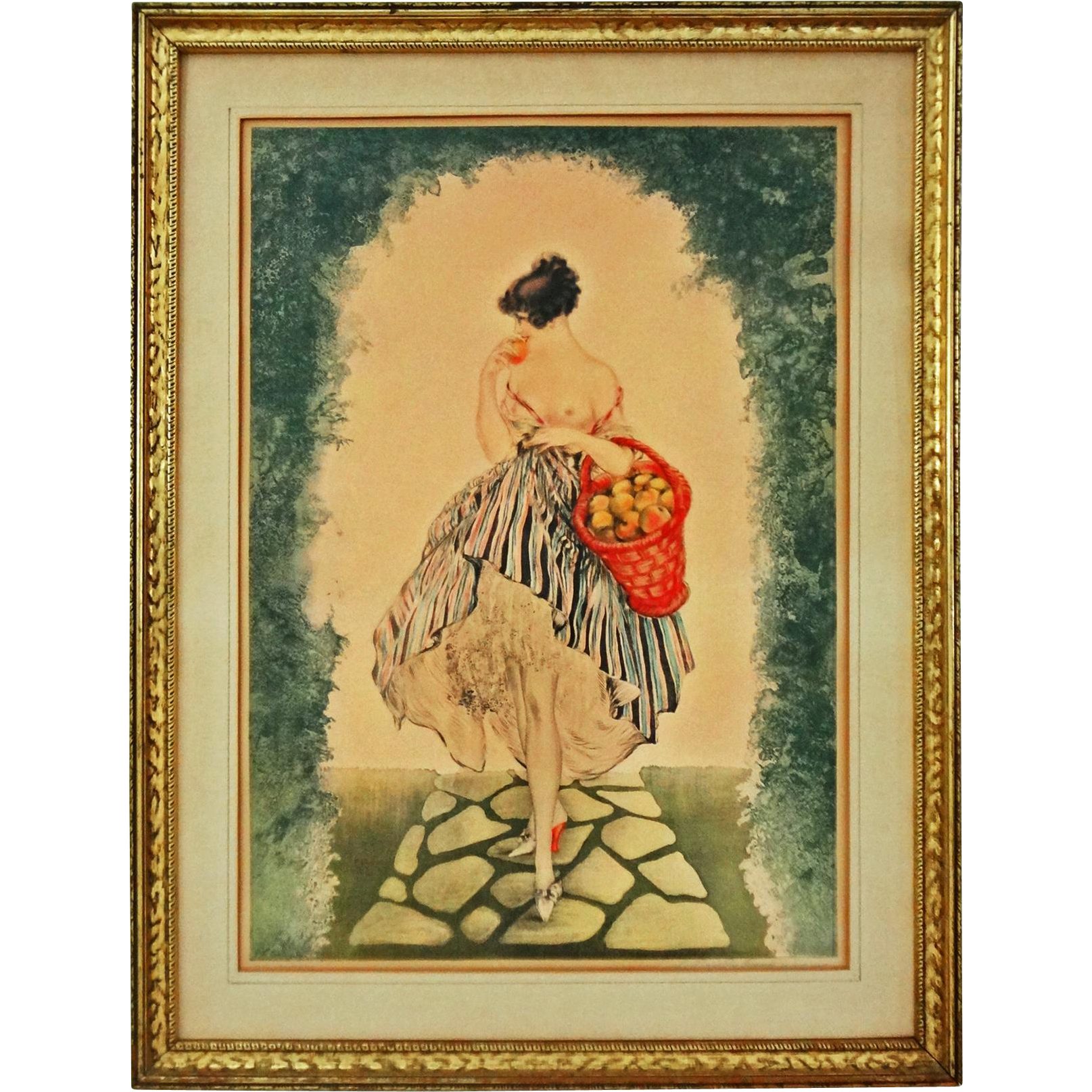 Basket of Apples / Le Panier de Pommes Print after Icart Framed - 20th Century, New York