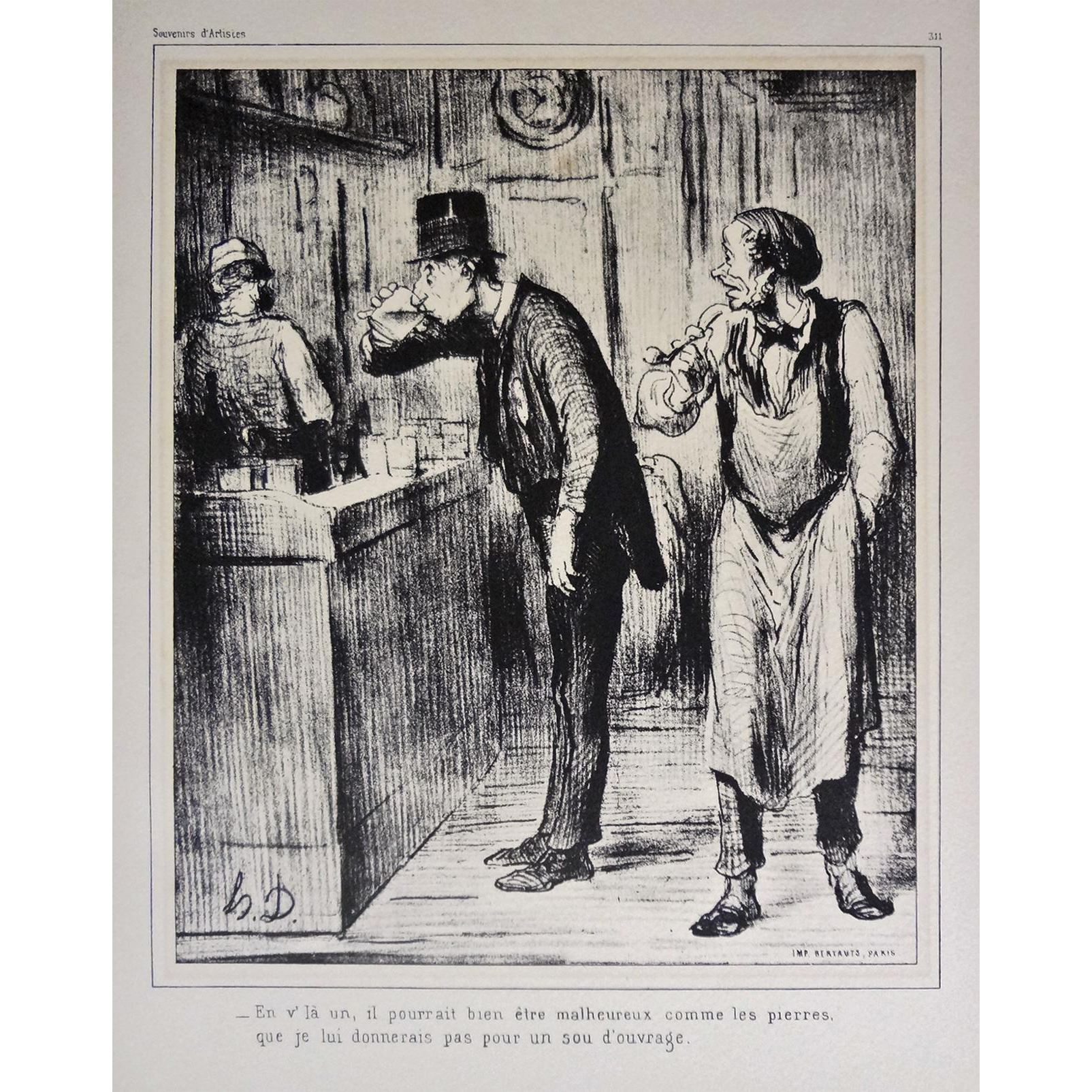 Honore Daumier Lithograph AMI DE PERSONNE with Authentication Caricature Satirical - 20th Century, France