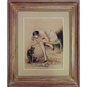 Art Deco Period Boudoir Drawing Signed William Ablett, Paris, Lady and Dog, Chalk / Charcoal - early 20th Century, France
