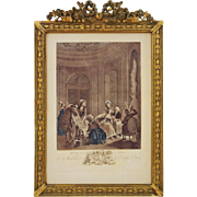 French Rococo Scene Etching Countess d'Ogny Gilt Wood Frame - 19th Century, France